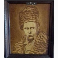 Портрет Т.Г. Шевченко выжженный на дереве
