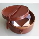 Дореволюционная круглая дорожная коробка для воротничков. До 1910г