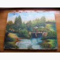 Картина Холст, Масло, Пейзаж 78 на 60 см. СССР