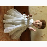 Кукла ГДР в кружевном платье 70 см