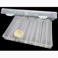 Контейнер с пластиковыми капсулами для 100 монет Ф 27мм