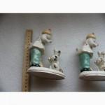 Две статуэтки, фарфор, девочки и собака, а ну ка отними, ЗХК Полоне 50-е СССР