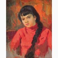 Картина Михаила Самкова Девушка в красном 1974 г