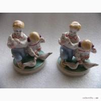 Две статуэтки, фарфор, дети и голуби, ЗХК Полонне 50-е СССР