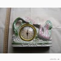 Фарфоровые каминные часы - 2 лебедя, Китай
