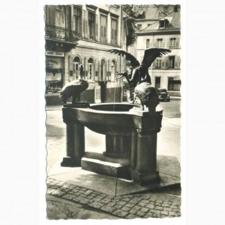 Открытка (ПК). Баден-Баден. Фонтан «Цапля». 1954г. Лот 221