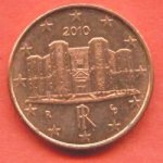 1 Евро цент. Италия 2010. Редкая монета