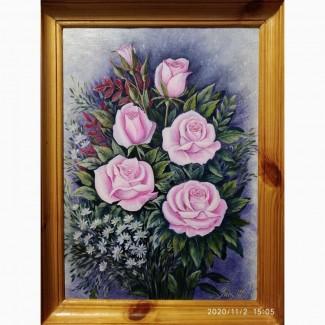 Картина маслом Розы авторская работа