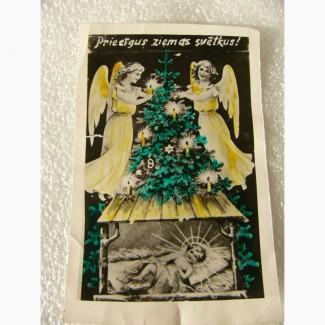 Редкая Рождественская открытка, Польша, довоенная