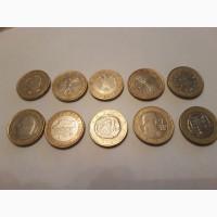 Монеты Франции 5, 10, 20 сантимов, Евро номинал 1, 2