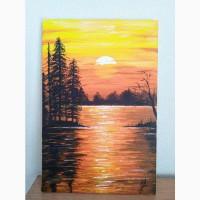 Картина Закат на озере