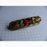 Довоенная, ювелирная брошь, бронза, корунд, СССР