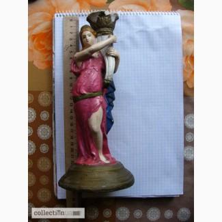 Подсвечник-статуэтка Девушка с факелом 25см, артели имХVIII партконференции, Кунгурский гипс