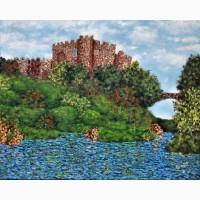 Картина масло холст Замок осенью