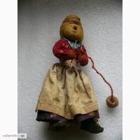 Редкая, антикварная, Коллекционная кукла - бабушка со спицами, 50-е годы, Англия