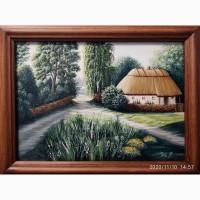 Авторская картина маслом на бумаге Украинский пейзаж