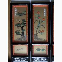Старинное Китайское настольное Арт Панно из 4-х створок