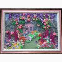 Картина вышитая лентами Цветочный сад