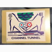 Франко-английская открытка открытия туннеля через Ла манш