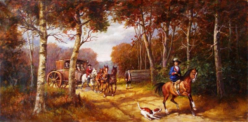 Фото 2. Продам антикварную живопись Лесной пейзаж с каретой