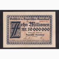 10 000 000 марок 1923г. 863721. Бавария. Мюнхен. Германия. Пресс