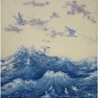 Картина масло холст чайки над водой
