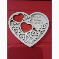 Подставка под свадебные кольца, с именами и датой