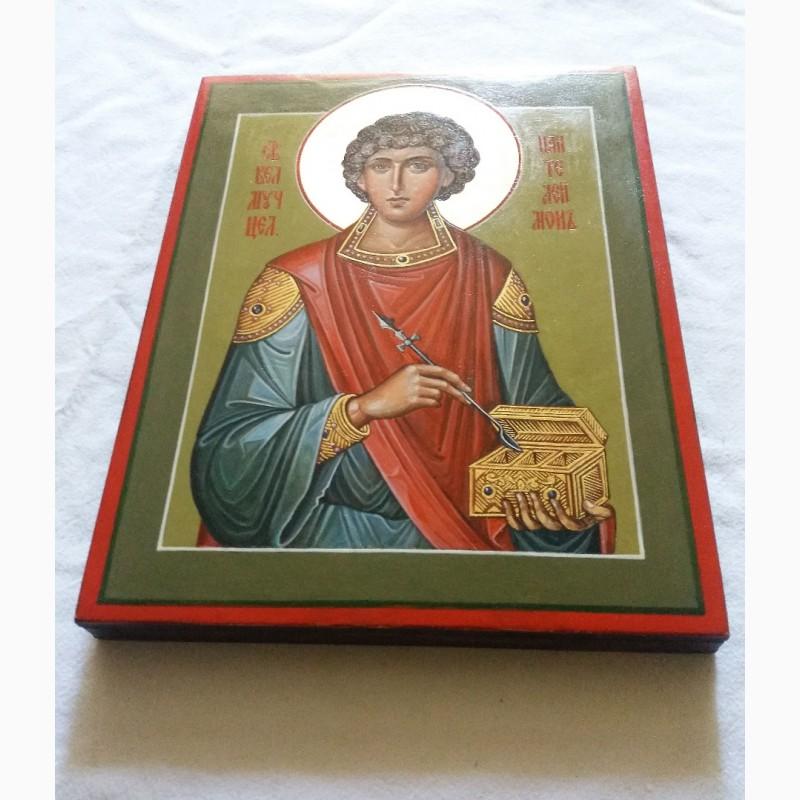 Фото 2. Икона Святой великомученик Пантелеймон целитель. Письмо темперой, ручная работа