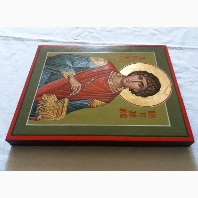 Фото 3. Икона Святой великомученик Пантелеймон целитель. Письмо темперой, ручная работа
