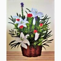 Картина масло холст корзинка с цветами