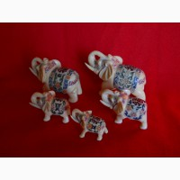 Пять Индийских слонов с ручной росписью