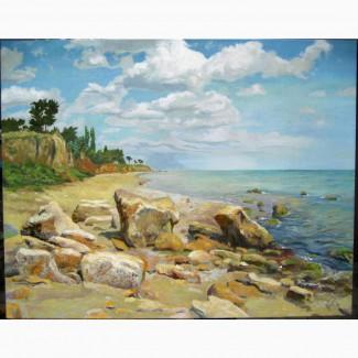 Морской пейзаж маслом 70/90см.Картина маслом на холсте Киев