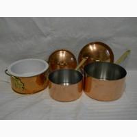 Винтажный набор медно-стальной посуды