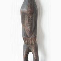 Африканская статуэтка женщина со шрамом на лице из черного дерева эбен