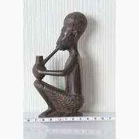 Африканская статуэтка старик с трубкой из черного дерева ручная работа