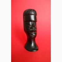 Бюст головы негроидной рассы из черного дерева