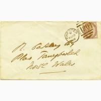 Подлинный конверт 1888 года с перевернутым сиреневым пенни
