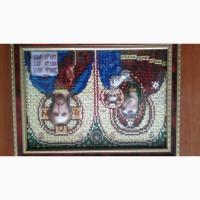 Икона Присвятой Богородици с ребенкои и Исус, вышиты бисером