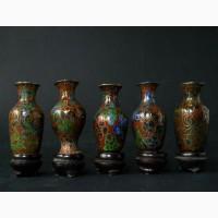 Набор из пяти Китайских винтажных ваз Cloisonne