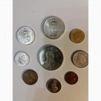 Полный набор обиходных монет Швейцарии