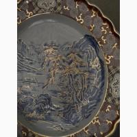 Старинное Японское большое керамическое блюдо