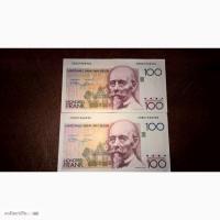 2 боны Бельгия 100 франков 1982 номера подряд - 100 Frank Belgie 1982
