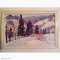 Зимний пейзаж. Картина Михаила Сапатюка