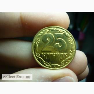 Украина 25 копеек, 2014 Сталь с латунным покрытием /магнетик/ состояние UNC