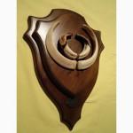 Охотничий трофей - клыки кабана СЕКАЧА, на 2-ном медальоне