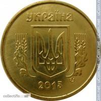 Украина 10 копеек, 2015 Сталь с латунным покрытием /магнетик/ состояние UNC