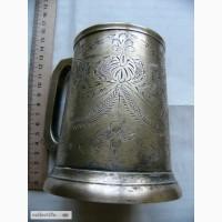 Бронзовая кружка NBE, старая Индия, СССР, серебрение, гравюры, клеймо