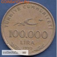 Продам монету 100 000 лир 1999 г