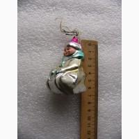 Ёлочная игрушка мальчик на санках, 50-е г. СССР