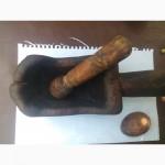 Старинная ступка, пестик, деревяная коащанка
